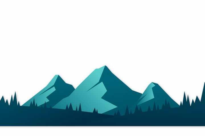 绿色扁平化大山森林png图片免抠矢量素材