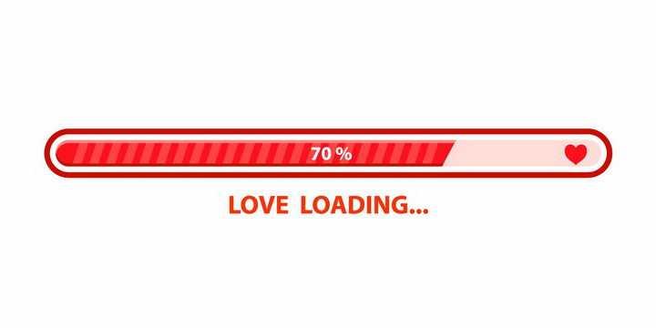 情人节红色爱心能量加载进度条loading设计png图片免抠eps矢量素材