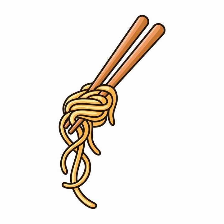 手绘卡通风格卷在筷子上的面条png图片免抠素材