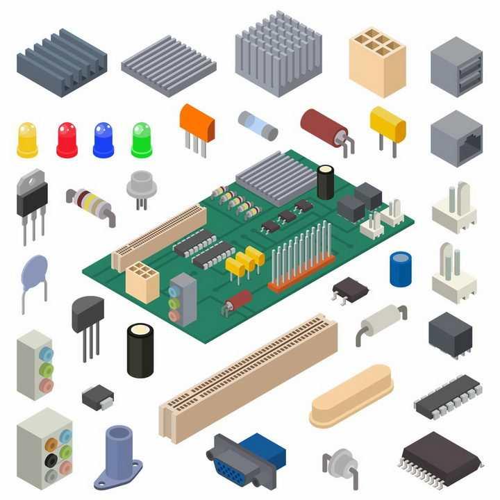 印刷电路板PCB板和发光二极管电阻器电容集成电路等png图片免抠矢量素材