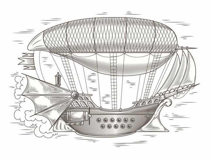 手绘插画蒸汽朋克风格飞艇飞船png图片免抠矢量素材