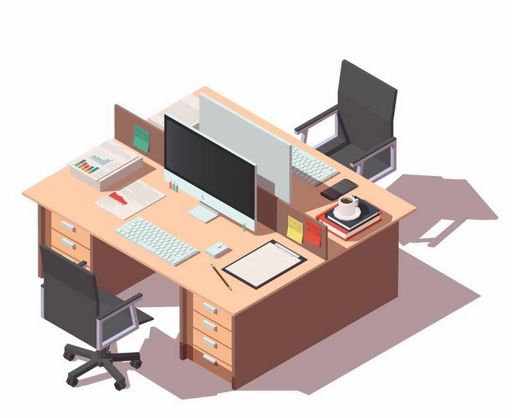 2.5D风格办公室办公桌办公位电脑和座椅png图片免抠矢量素材 建筑装修-第1张