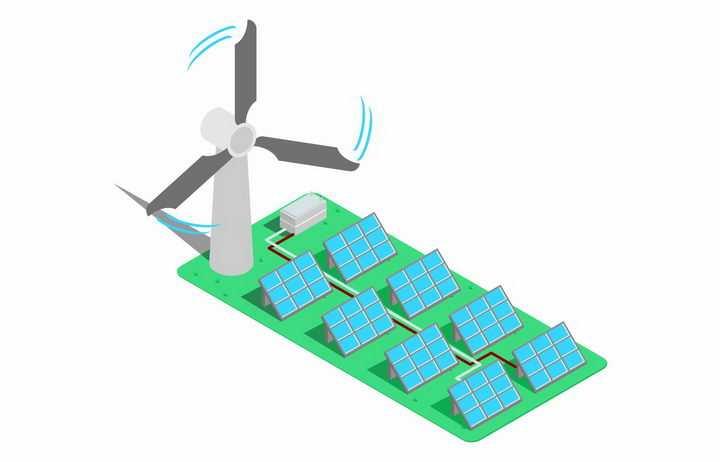 2.5D风格风力和太阳能发电机png图片免抠eps矢量素材