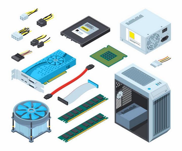 2.5D风格电脑硬盘CPU处理器电源散热风扇内存条机箱等电脑配件png图片免抠矢量素材 IT科技-第1张