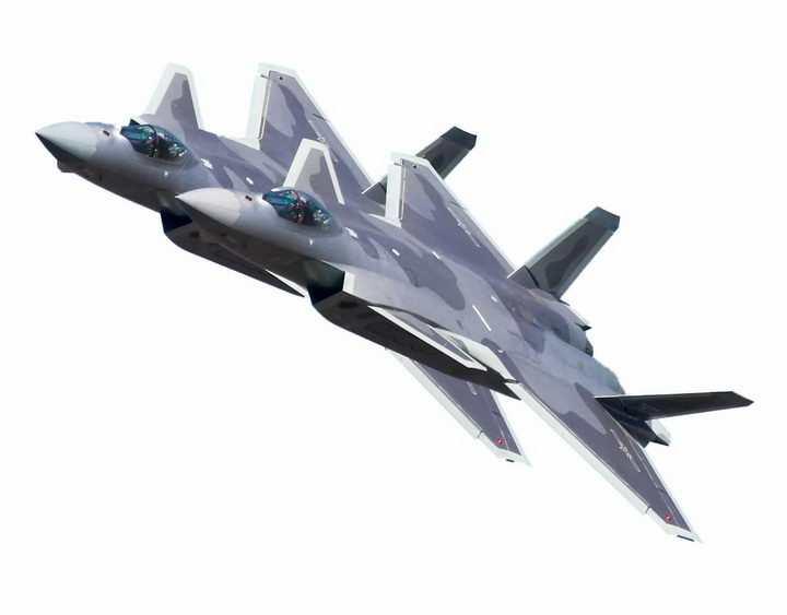 双机队形的歼20战斗机png免抠透明图片