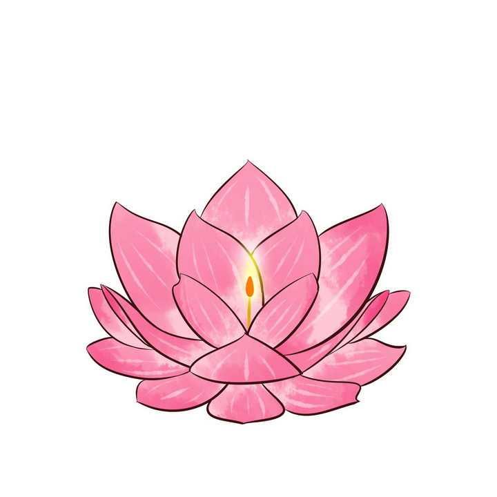 中间有蜡烛的手绘粉色莲花灯png图片免抠素材