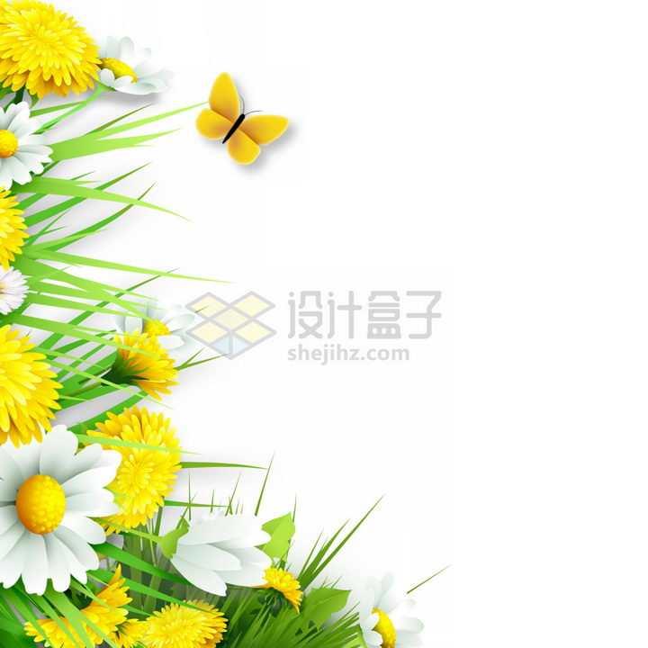 绿色青草和各种鲜艳的花朵以及一只橙色的蝴蝶png图片免抠素材