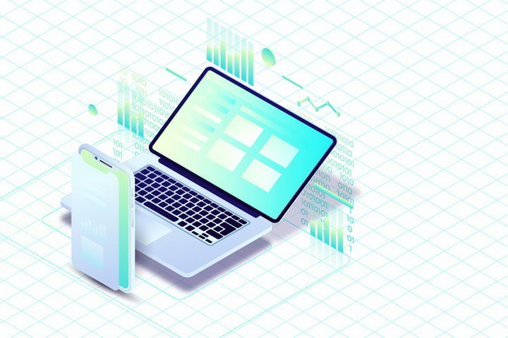 3D立体笔记本电脑和智能手机上的数据图表png图片免抠矢量素材 IT科技-第1张
