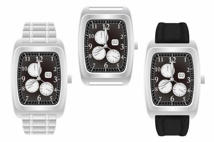 3款长方形银色表盘的机械手表png图片免抠矢量素材