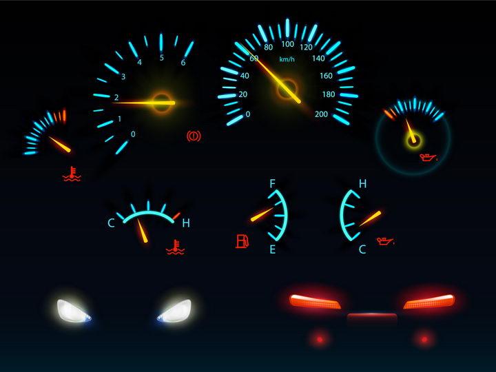 发光的蓝色汽车仪表盘速度表和车大灯车尾灯png图片免抠矢量素材 交通运输-第1张