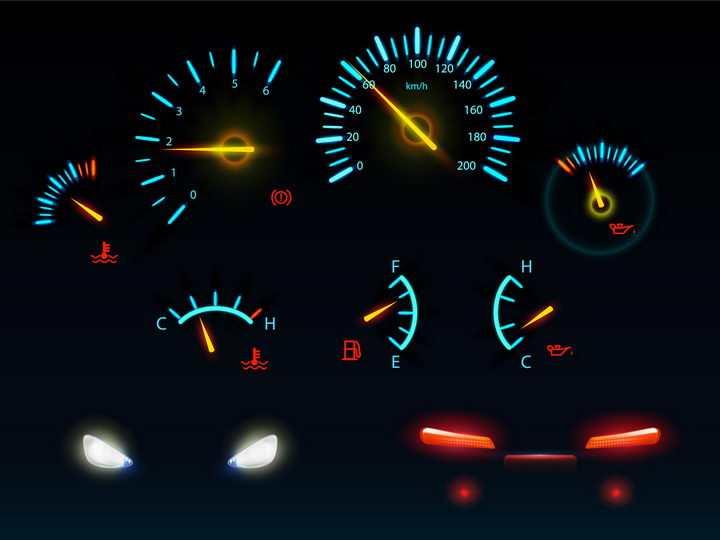 发光的蓝色汽车仪表盘速度表和车大灯车尾灯png图片免抠矢量素材