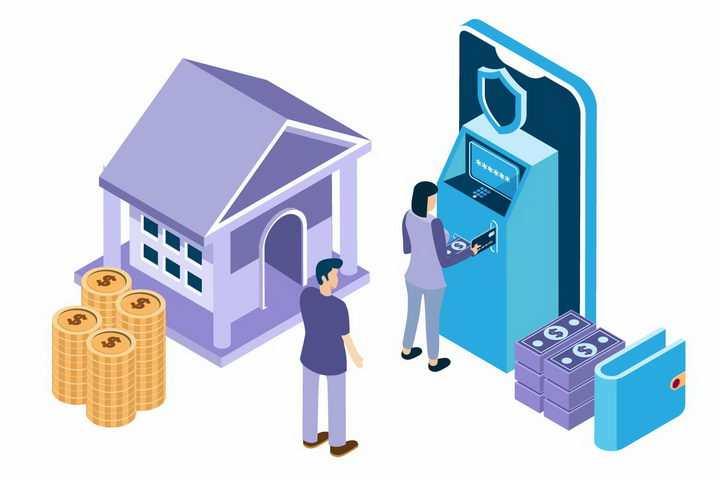 2.5D风格银行ATM机和金币象征了金融安全png图片免抠矢量素材