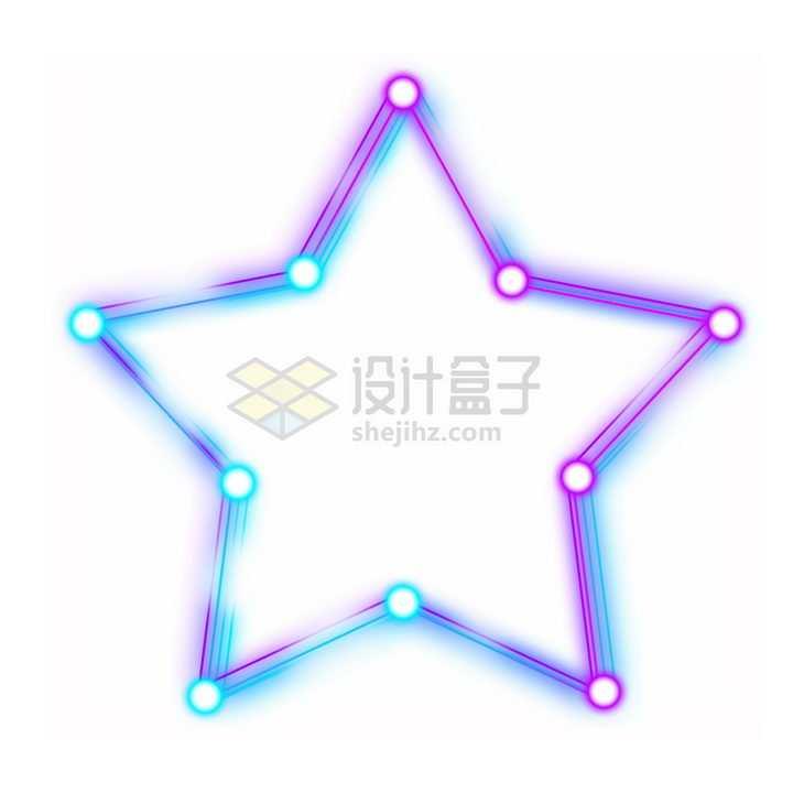 酷炫发光线条和圆点组成的五角星png图片免抠素材