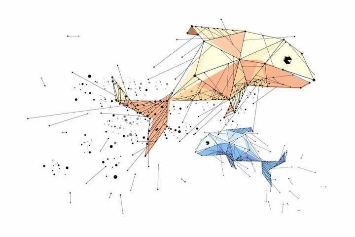 点线组成的两条大鱼图案png图片免抠矢量素材