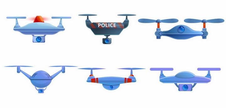 6款警用无人机四轴飞行器png图片免抠矢量素材 IT科技-第1张