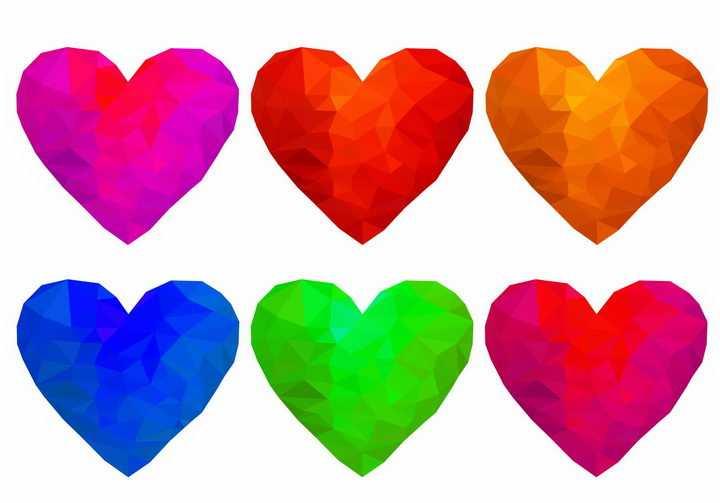 6款彩色三角形组成的心形图案符号红心png图片免抠矢量素材