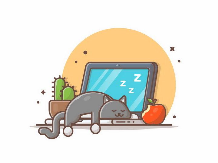 MBE风格趴在笔记本电脑上睡觉的猫咪狸花猫png图片免抠矢量素材 IT科技-第1张