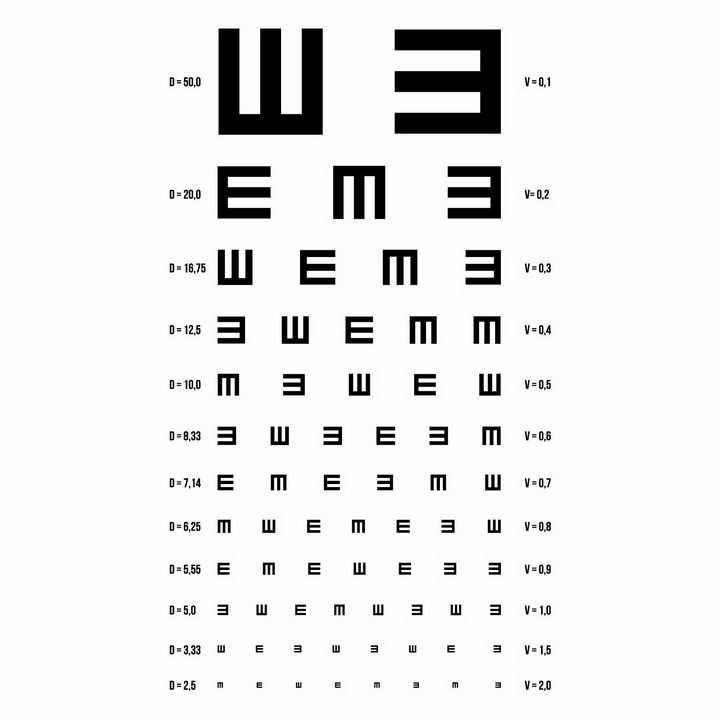标准视力表png图片免抠矢量素材