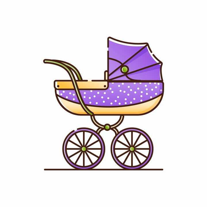 MBE风格紫色婴儿车侧面图png图片免抠素材