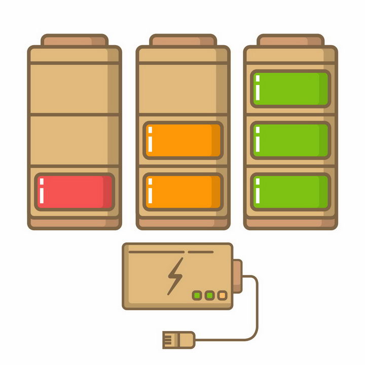 MBE风格充电电池电量显示png图片免抠eps矢量素材 IT科技-第1张