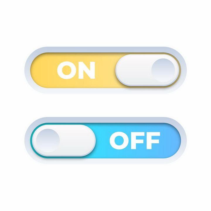 逼真的立体长条滑动开关按钮png图片免抠矢量素材 按钮元素-第1张