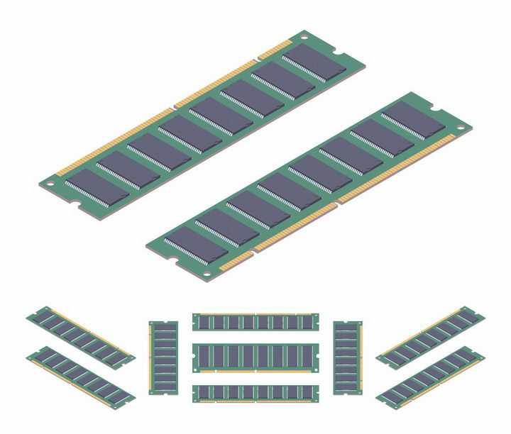 各种不同角度的内存条电脑配件png图片免抠矢量素材