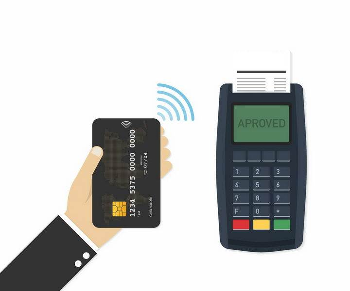 在POS终端机上刷卡消费银行卡信用卡png图片免抠矢量素材