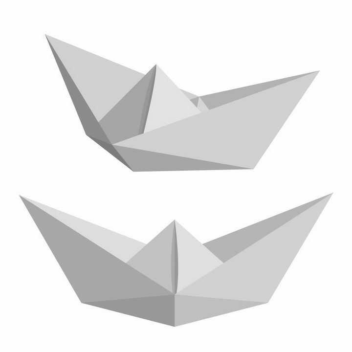 两款灰白色的折纸船png图片免抠矢量素材