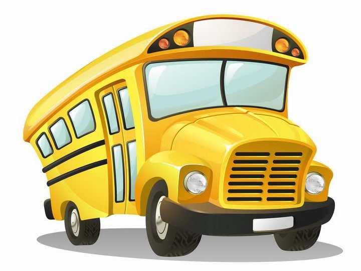 漫画风格卡通黄色的校车汽车png图片免抠矢量素材