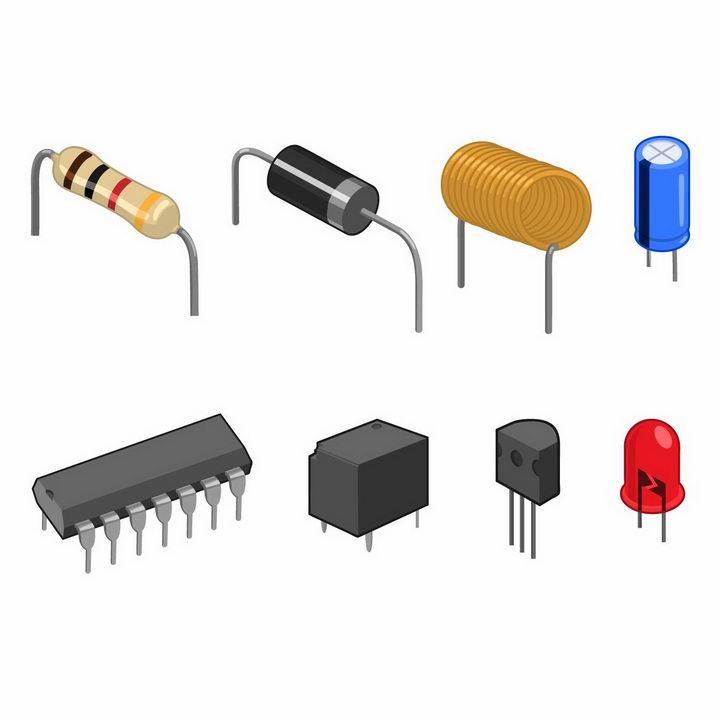 电阻器电容电感集成电路芯片电子元件二极管晶体管等工具png图片免抠矢量素材 IT科技-第1张