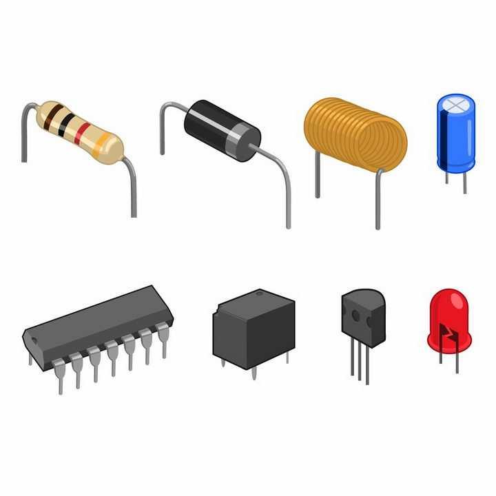 电阻器电容电感集成电路芯片电子元件二极管晶体管等工具png图片免抠矢量素材