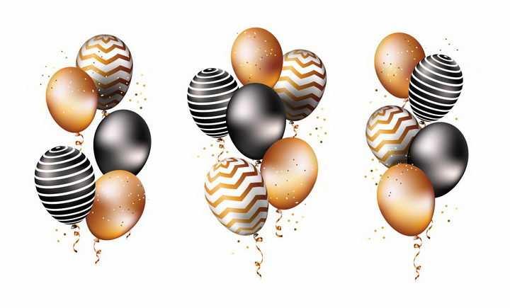 三款条纹纯色的气球png图片免抠素材
