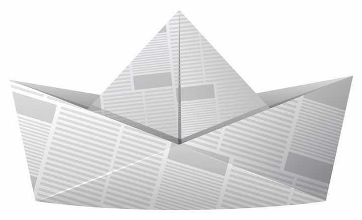 报纸折成的纸船png图片免抠矢量素材