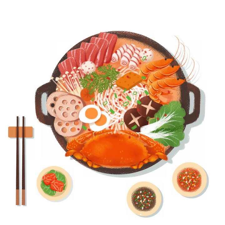 彩绘风格海鲜火锅麻辣烫png图片免抠素材