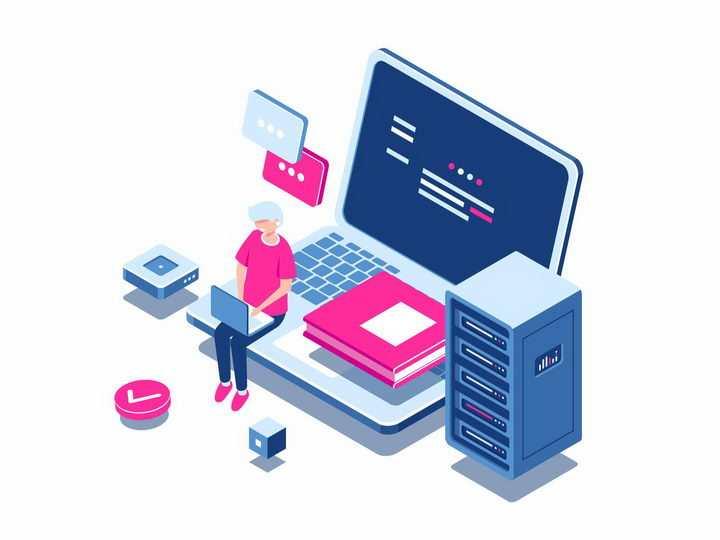 3D笔记本电脑和云服务器等云计算服务png图片免抠矢量素材