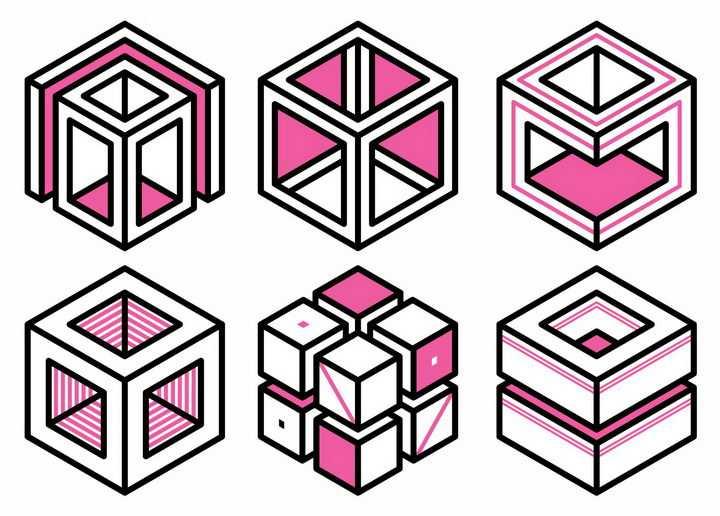 6款粉色孟菲斯立方体立方块图案png图片免抠矢量素材