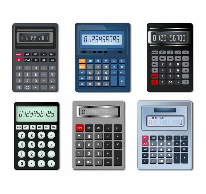 6款逼真的按键计算器科学计算器办公用品png图片免抠矢量素材 IT科技-第1张