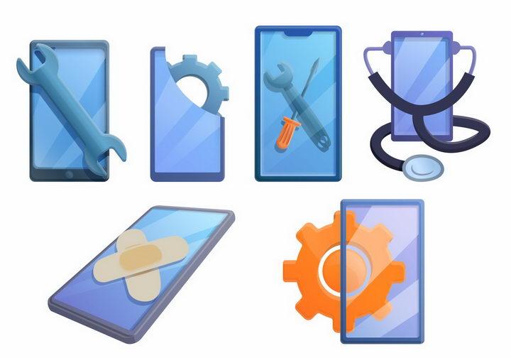 卡通抽象风格扳手创口贴和手机象征了手机维修服务png图片免抠eps矢量素材 IT科技-第1张