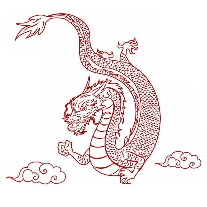 红色线条祥云和中国龙图案png图片免抠素材