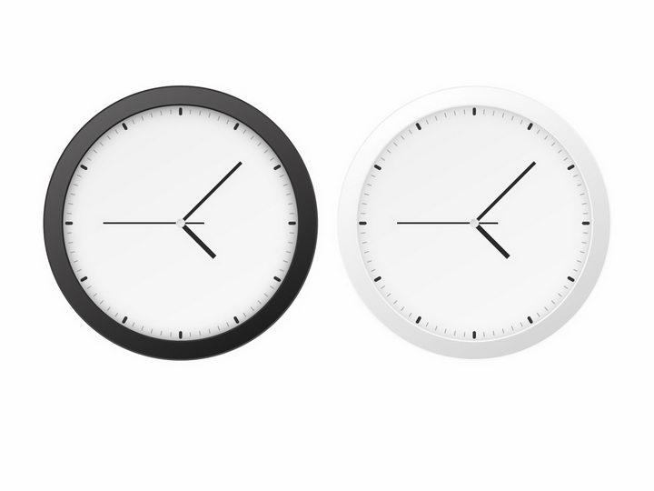 两款黑色和白色边框的时钟表盘png图片免抠矢量素材 生活素材-第1张