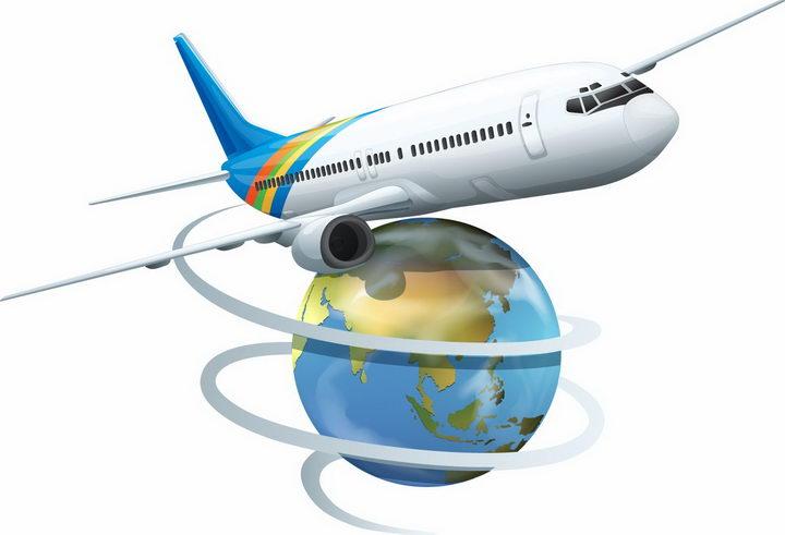 环绕地球模型飞行的大型客机飞机全球旅游png图片免抠矢量素材 交通运输-第1张