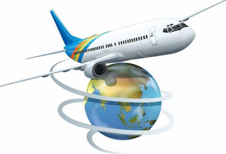 环绕地球模型飞行的大型客机飞机全球旅游png图片免抠矢量素材