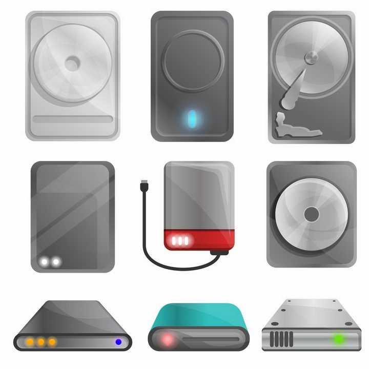 卡通风格机械硬盘固态硬盘和各种移动硬盘等存储设备png图片免抠矢量素材