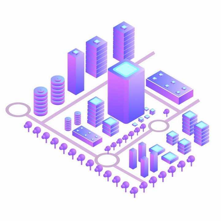 紫色渐变色3D城市模型png图片免抠ai矢量素材