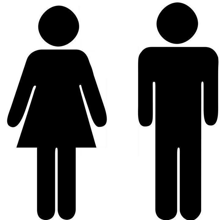 黑色男女厕所性别标志png图片免抠素材 标志LOGO-第1张