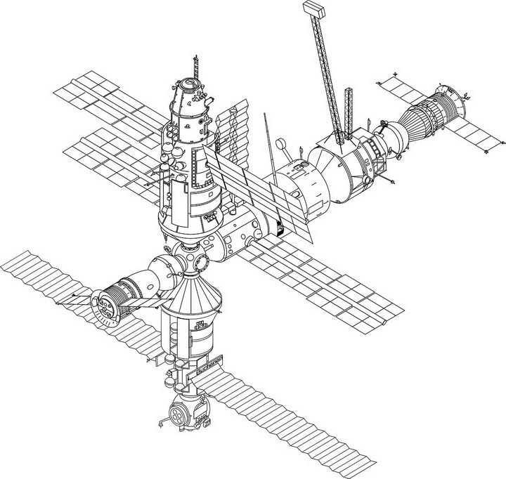 线条国际空间站png图片免抠素材