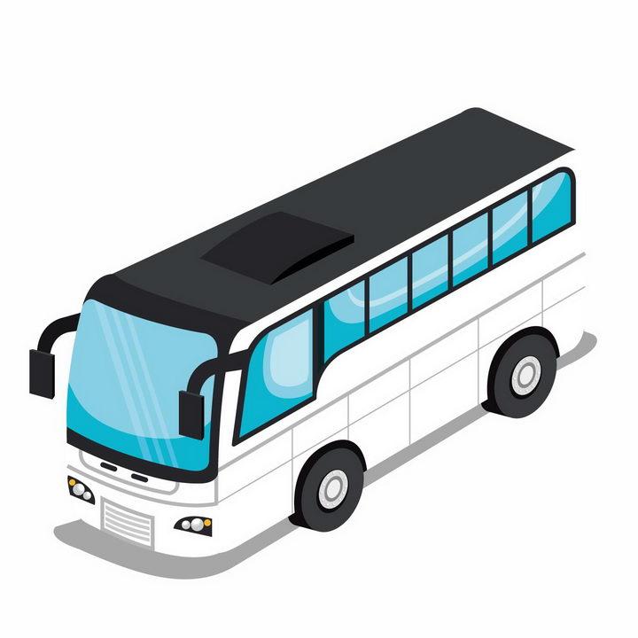 2.5D风格白色长途客车蓝色窗户汽车png图片免抠矢量素材 交通运输-第1张