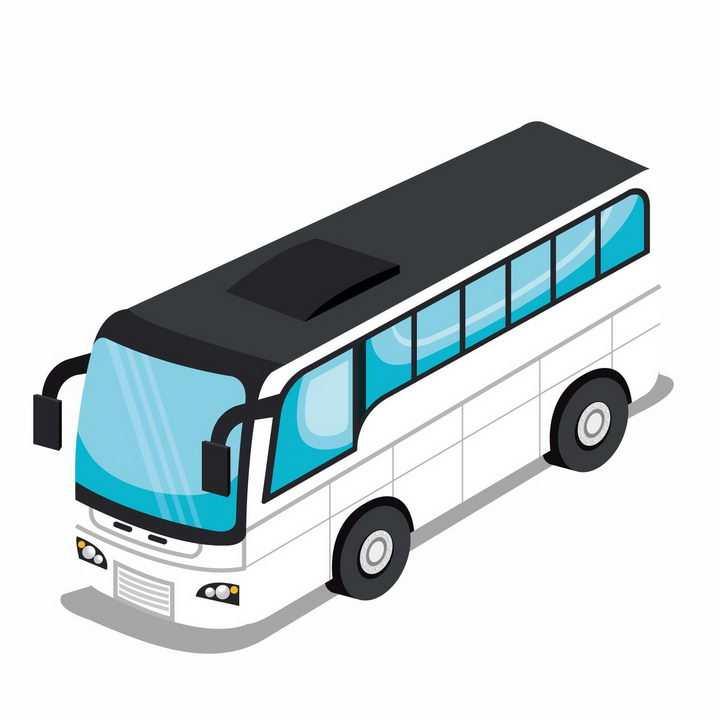 2.5D风格白色长途客车蓝色窗户汽车png图片免抠矢量素材