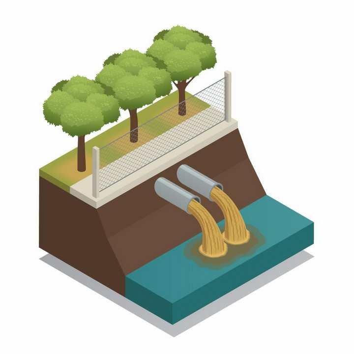 2.5D风格废水排污管环境污染png图片免抠矢量素材