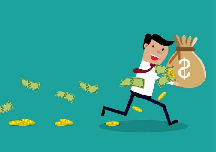 卡通粗心的职场人士拿着一个坏掉的钱袋子象征了投资的漏洞png图片免抠矢量素材